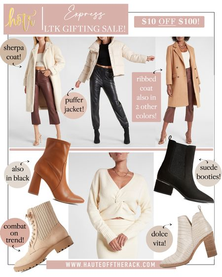 Save $10 when you spend $100 at express! #fallfashion #falloutfit #express #coat #sherpa #pufferjacket #booties #fallbooties #suedebooties #leatherbooties #blackbooties #combatboots #sweater #whitesweater  #LTKGiftGuide #LTKHoliday #LTKSale