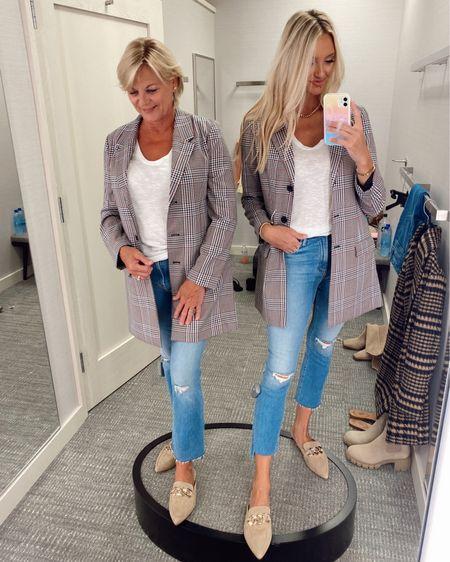Plaid blazer, distressed denim and chain flats all part of the Nordstrom Anniversary Sale! Mom wearing a medium in the blazer and I am wearing a small! Mom wearing 29 in jeans and I am wearing a 27 with lots of stretch , slides run tts! http://liketk.it/3jGEt @liketoknow.it #liketkit #LTKsalealert #LTKshoecrush