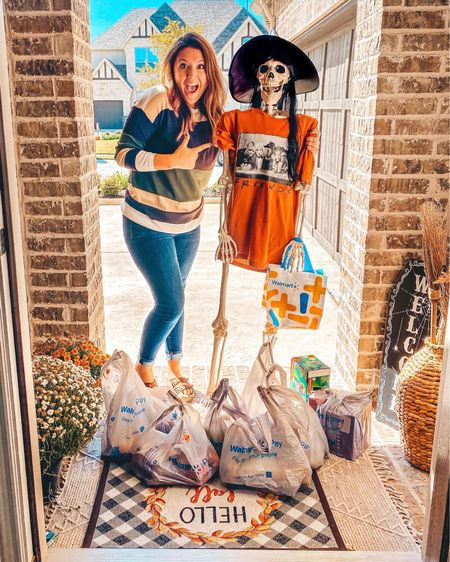 I would have been DEAD this weekend if this spritely young lady 💀💀 hadn't delivered my Walmart+ order straight to my house! 😂 Get it?! #ad. Seriously though!  My #WalmartPlus membership saved me yet again!  I don't know what it is about October but it seems like it is our BUSIEST month of the year!  Between all the Halloween festivities, school activities, sports games, etc. it seems like we're constantly on the move!  Getting fresh groceries delivered straight to our house (did I mention it was FREE SAME-DAY delivery ($35 minimum. Restrictions apply.)?!) has been a game changer for us!  Not to mention a HUGE time saver!  It even gave me time to create this fun little #HalloweenCharcuterieBoard for our friends' annual Halloween party they had this weekend. Swipe over to see it!  What do y'all think?!  I shared more about it on the blog but my favorite part is, hands down, the Jack-o-Lantern Apple Pie Cookies! Head over there to see the details! I'm also sharing a super close up of the Charcuterie Board in stories so you can see the details much better there! . And seriously…the holidays are coming up…if you need to, use that as an excuse to finally sign-up for your #WalmartPlus Membership.  I promise you won't regret it!! I use mine MULTIPLE times a week! And just an FYI the free same-day delivered is UNLIMITED (there is a $35 minimum, restrictions apply). @Walmart . . #walmart #shoppingmadeeasy #grocerydelivery #momminmadeeasy #momlife #affordableshopping #frontporch #holidayshopping #onlineshopping #halloween #halloweendecor #halloweencharcuterieboard #charcuterieboard #halloweenpartytreats #halloweenpartyideas #skeleton #skeletonshenanigans    #LTKsalealert #LTKSeasonal #LTKhome