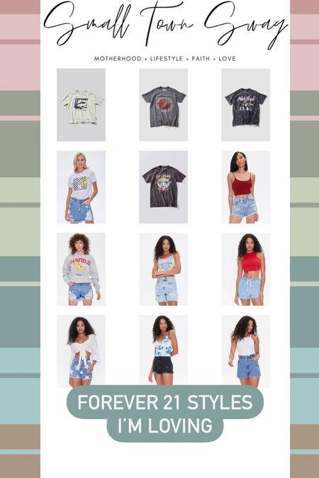 Forever 21 graphic tees and shorts — last day to shop the sale thru my links! . . . . Tees // tops // graphic tee // graphic tees // band tees // boyfriend tee // tshirt // Jean shorts // star shorts // destroyed denim // denim shorts // jeans // jean shorts // denim style // band tee // band tees // 90s denim // crop tops // Pink Floyd // def leopard // mtv   #LTKunder50 #LTKSeasonal #LTKsalealert