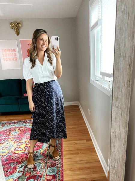 teacher outfits: this white top, wrap skirt and wedges are all amazon finds! perfect business casual outfit or maybe for a back to school night.   #LTKworkwear #LTKbacktoschool #LTKstyletip