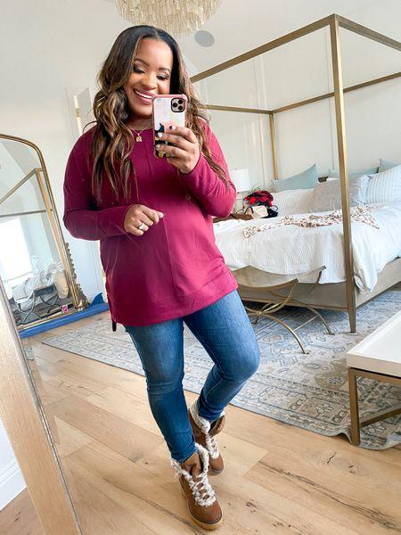 Burgundy sweater runs a bit big wearing a size large   #LTKunder50 #LTKstyletip