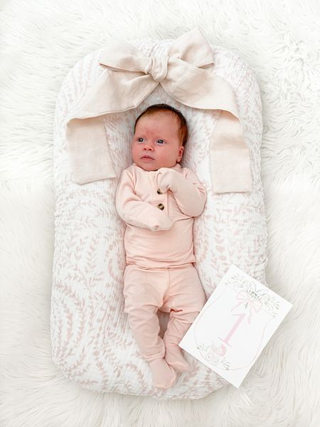 Can't believe my sweet Josie girl is one month! Her PJs are from Lou Lou & Co (can't link) but wanted to link what we used for her milestone photo for y'all!   The bow is apart of her nursery decor in the color heirloom pink. It will eventually go up on her curtains once the rod gets delivered.  #LTKbaby