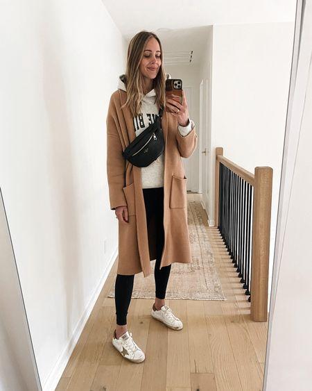 Saturday rainy day outfit. Wearing my mango coatigan, Anine Bing sweatshirt, leggings, and golden goose sneakers. Love my LV bum bag too   #LTKstyletip #LTKitbag #LTKunder100