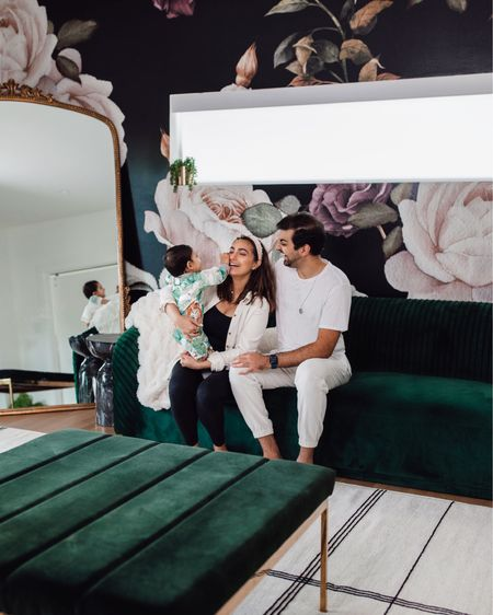 Hi friends!! 🥰 It's Nita & the fam here from @nextwithnita and I'm so honored to take over the @shop.ltk page today!I'll be sharing some fun reels my hubby and I create + home, fashion and beauty content throughout the day! This photo is us in a nutshell! 😂 We're just a goofy little family here to make you laugh every day! We're currently sitting in my studio right now even though it's a work in progress. We got wallpaper installed (got it from Hovia) but I'll link up everything else for you guys! This is where I get ready each day. I plan to make the room super romantic and moody!🖤#LTKTakeoverTuesday         #LTKhome