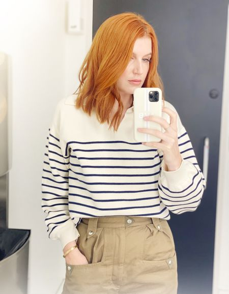 Back in the office today in the e striped sweater I wore to BOYCES party. My pants are a 36 but a 38 would have been better for a size 4US.   #LTKbeauty #LTKworkwear #LTKunder100