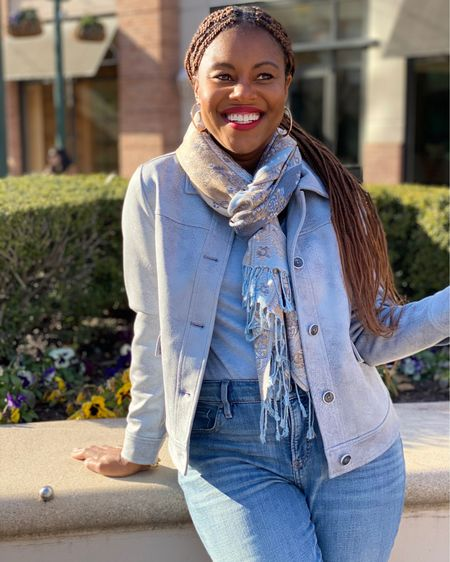What's even better than blue suede shoes? A faux Suede Jacket that's perfect for spring! This beautiful paisley print scarfs is on sale too. And I could talk your ear off about the fit of these cozy pull on jeans! Happy New Month Friends! #LTKSeasonal #LTKfit #LTKsalealert http://liketk.it/39vQC #liketkit @liketoknow.it