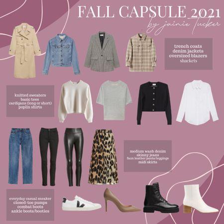 Fall capsule wardrobe! Use these 16 pieces to transform your closet and make it most versatile this fall! | #trenchcoats #workoutfit #dinneroutfit #denimjacket #jeanjacket #shackets #overshirts #blazer #womensblazer #oversizedblazer #straightlegdenim #straightjeans #skinnyjeans #fauxleather #leatherleggings #midskirts #popularsneakers #combatboots #booties #ankleboots #bestsellingpumps #JaimieTucker  #LTKstyletip #LTKSeasonal