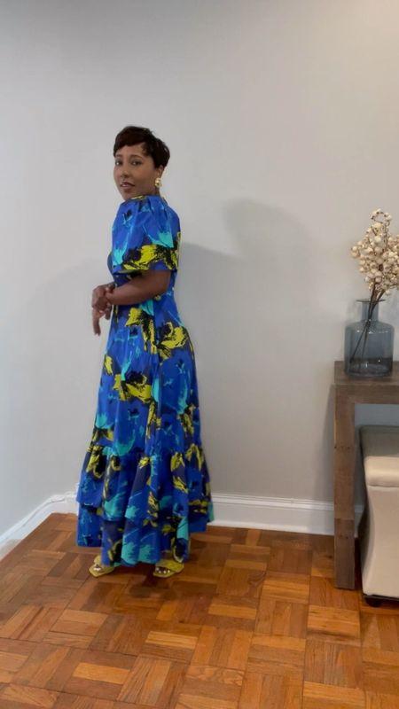 Blue floral maxi dress yellow double strap sandals #christopherjohnrogers #targetstyle #competition  #LTKunder100 #LTKstyletip #LTKSeasonal