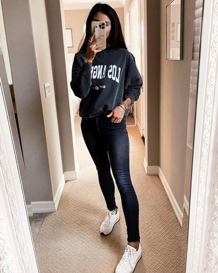 Wearing a size small sweatshirt, casual outfit, everyday style, sneakers, shopbop, StylinByAylin   #LTKunder100 #LTKstyletip #LTKSeasonal