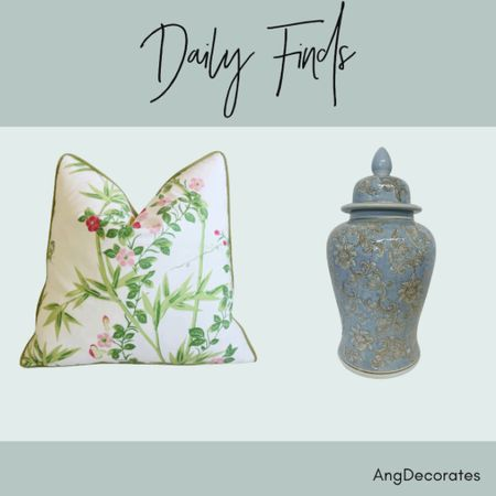 """Daily Finds: Scalamandré Floral De Jardin Chine Feather/Down Pillow and a large light blue ginger jar with a floral pattern 25.5"""" tall.   #LTKhome"""