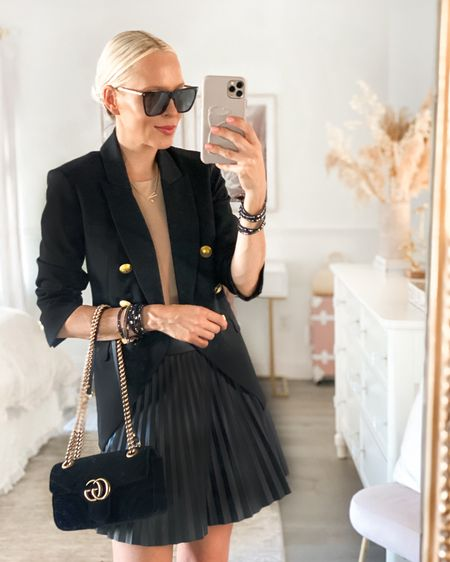 Victoria Emerson bracelets. Black blazer. Leather mini skirt. Studded flats.   #LTKGiftGuide #LTKstyletip #LTKSeasonal