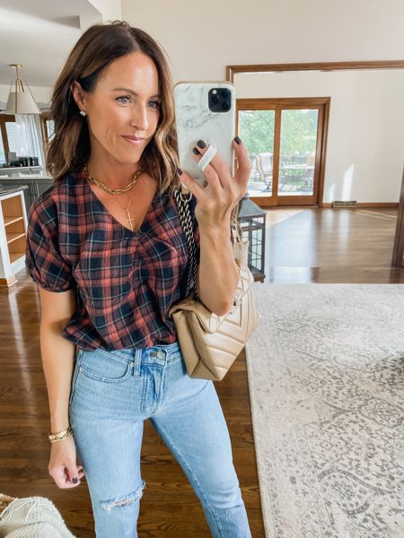 Gathered v neck plaid top. Love this girly vibe to a plaid top.  Part of the LTK app sale days.  Copy promo code to add in at checkout.  @madewell Size XS here  #LTKSeasonal #LTKSale #LTKunder50