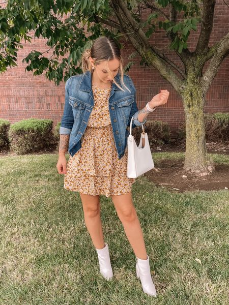 Dress from Target is a size small. Jean jacket is a size small paired with gold jewelry and white booties. Perfect outfit for spring, summer, and fall!  #LTKunder50 #LTKfit #LTKshoecrush