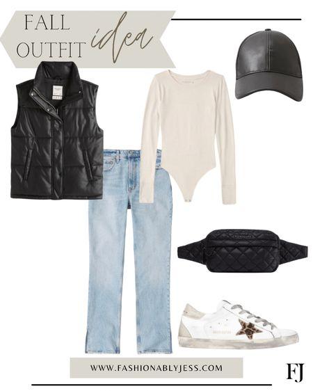 Fall style, fall look, casual look, vest, body suits, belt bag   #LTKunder100 #LTKshoecrush #LTKstyletip