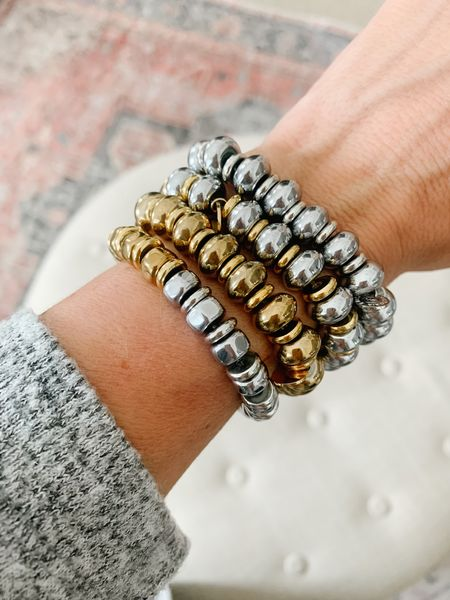 These bracelets surprised me because they are stretchy and slip right onto your wrist, but they've got a great weight to them.  Definitely party ready and perfect for mixing and matching. The metals can be worn with your casual weekend outfits or dressed up for date night.  The pearls are so special and I love the mix of pearl and paperclip for an unexpected twist! I love them for you, myself and for gifting!  #LTKstyletip #LTKSeasonal #LTKHoliday