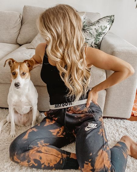 A little quarantine DIY tie dye with bleach & a pair of black sweatpants. The perfect loungewear for this crazy time. Linked some similar finds! http://liketk.it/2NxLs @liketoknow.it #liketkit #StayHomeWithLTK #LTKunder50 #LTKstyletip