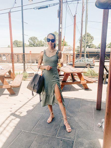 Summer dress outfit with star sandals and vegan leather bucket bag #ootd   #LTKshoecrush #LTKunder100 #LTKunder50