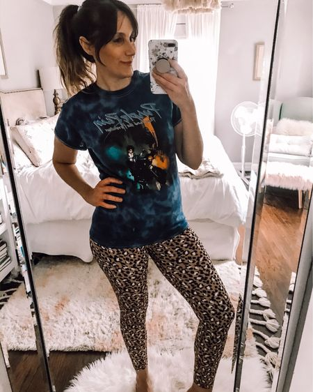 I've had a hard time finding band tees because I'll only wear one whose music I'm 100% into 💜💜💜 I've linked a small selection along with these amazing leggings, but size up. The solid colors fit tts but not the leopard. Also linked some bike shorts because spring has to be coming soon. Shop your screenshot of this pic with the LIKEtoKNOW.it shopping app http://liketk.it/2MhXY #liketkit @liketoknow.it #LTKunder50 #LTKspring #StayHomeWithLTK