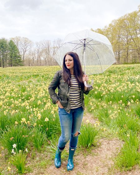 Rainy day outfit, Hunter boots outfit, umbrella outfit, spring outfit, jcrew jacket, striped top with jeans, clear umbrella  http://liketk.it/3eEaC #liketkit @liketoknow.it