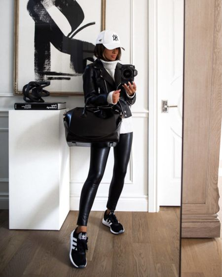 Casual fall outfit  Blank NYC Faux Leather Jacket  Gray turtleneck sweater  Commando Faux Leather Leggings  Adidas Swift Run Sneakers    #LTKshoecrush #LTKunder100 #LTKfit