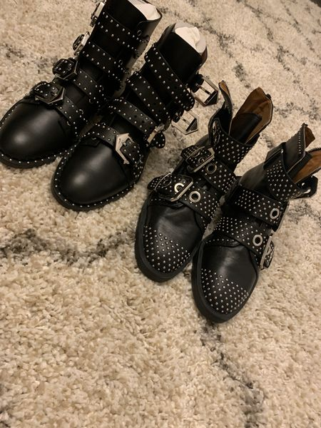 The left ones are designer and on super sale. Must-have. The right ones are $30 from Zara last year. You decide what's right for you. Black boots. Black studded boots. Sale alert. Super sale alert. Fall boot. Shoes. Shoe crush.   #LTKsalealert #LTKshoecrush #LTKstyletip