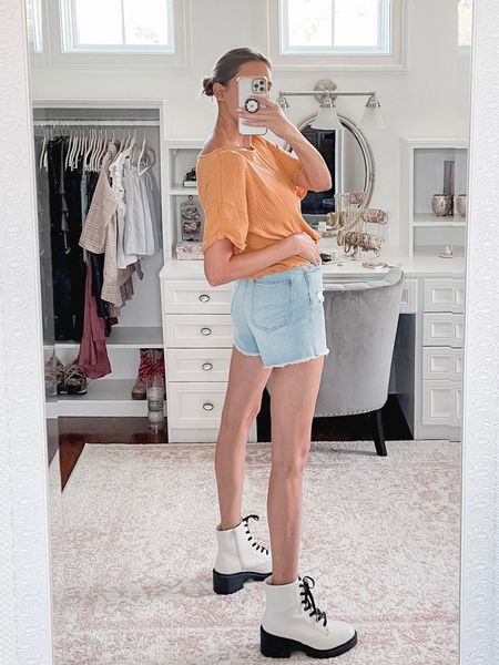 I'm still not over this fit. Mom shorts done right 👏🏻👏🏻👏🏻  And they are on sale, too. Selling quickly. So glad I snagged these. They run TTS.    #LTKunder50 #LTKshoecrush #LTKsalealert