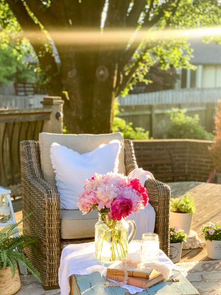 Create a cozy and inviting space on your patio with an all-weather wicker patio set!🌿🌸  An Outdoor Patio decorated in a CottageFarmhouse style with textured neutral pillows from the MyTexasHouse collection, a glass pitcher as a fresh flower vase, vintage books and other pretty accessories.🌸🌸  #LTKhome #LTKunder50 #LTKSeasonal