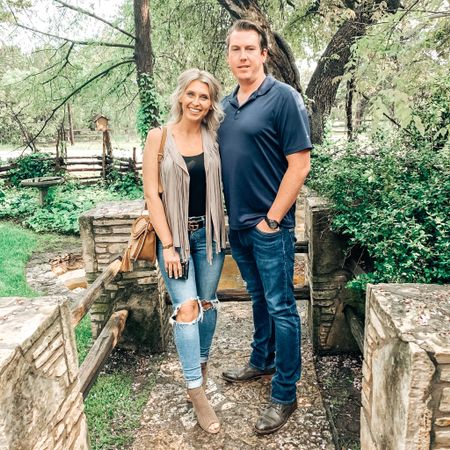 One of my favorite outfits from our trip to Austin Texas while back! My fringe vest and skinny Levi's are a great duo! Love the blown out knee trend! Linked my neutral colored purse and booties, too! My husbands outfit is simple but sleek for dinner! #competition   #LTKSeasonal #LTKmens #LTKtravel