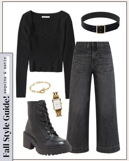 "All black look! Loving these options for fall, code ""sequinsandsatinblog15"" for 15% off the watch & bracelet🙌 #targetstyle #targetfinds #jeans #monochromeoutfit #abercrombie #combatboots   #LTKSeasonal #LTKunder50 #LTKshoecrush"