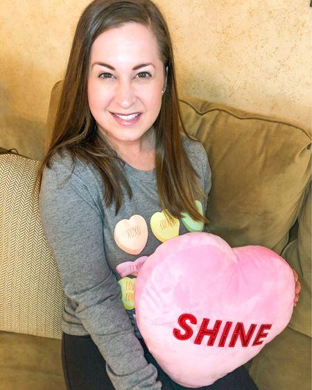 Valentine's Day Conversation Heart Tee and Scented Heart Pillow 💗💗💗 Valentine's Day Outfit Valentine's Day Home Decor #LTKSeasonal #LTKVDay #liketkit @liketoknow.it http://liketk.it/37BgS