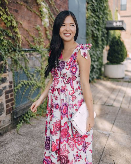 Pink tie strap maxi dress (S), white woven clutch (sold out, linked similar, brown woven sandals (6.5 TTS).  Amazon fashion, Amazon finds, summer outfit, summer dress, petite dress, vacation outfit, baby shower outfit, bridal shower outfit, wedding guest dress.     #LTKunder100 #LTKstyletip #LTKunder50