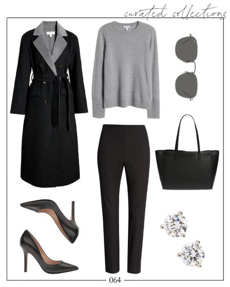 """A little fall workwear inspiration 🖤 This wrap coat is under $150 and fully stocked in all sizes. The cashmere sweater, sunglasses, pants, shoes, and earrings are under $100!  I linked a few similar workwear pieces in the """"Related"""" section.  Fall Work Outfits, Fall Workwear, Black Coat, Fall Outfits Women, Fall Outfits, NSale Outfits #nsaleoutfits #falloutfits #fallworkoutfits #falloutfitswomen"""
