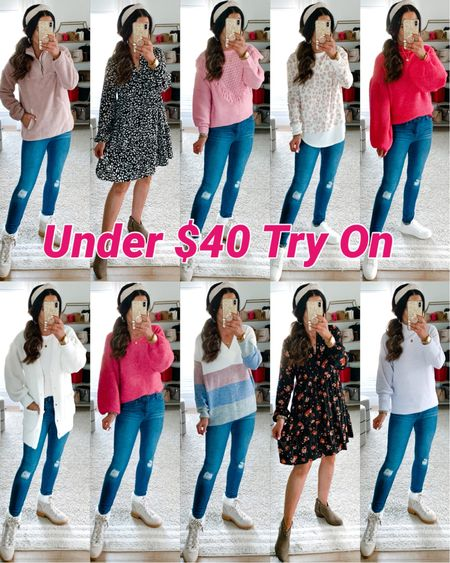 #ad It's time for a NEW under $40 @walmartfashion fall try on session! From shirts and jeans to dresses and shoes - our try on has it all! Head to our new post on TheDoubleTakeGirls.com to easily shop it all! #walmartfashion   #LTKunder50 #LTKstyletip #LTKshoecrush