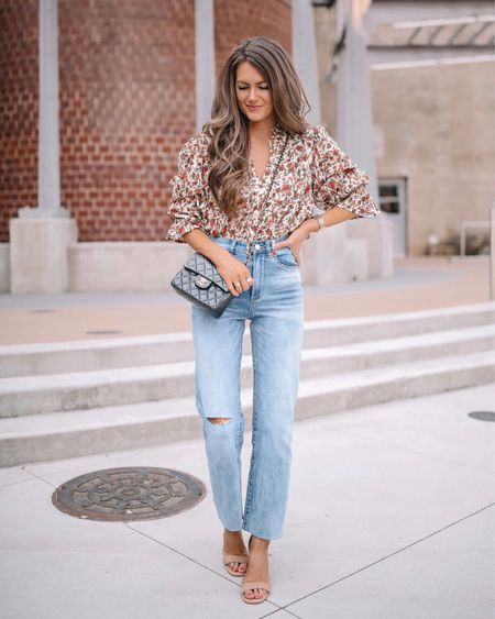 Casual fall outfit from @nordstrom 🍂 Floral top, mom jeans, quilted leather handbag, nude heels, cmcoving, Caitlin Covington, fall fashion, Nordstrom finds  #LTKunder100 #LTKshoecrush #LTKSeasonal