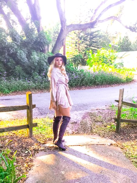 Thai gorgeous leopard print wrap dress with grey suede over the knee boots are the perfect outfit for fall!  I love a great dress and boot combo. #LTKunder50 #StayHomeWithLTK #LTKstyletip #ltkshoecrush #shoelove #boots http://liketk.it/2XR0J #liketkit @liketoknow.it