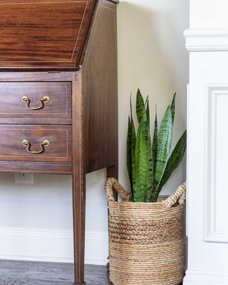 I scored this secretary desk on Marketplace and found a magic product that covered the minor scratches beautifully!  http://liketk.it/3eH5N #liketkit @liketoknow.it #LTKhome #LTKstyletip #LTKunder50 home decor conversation room decor Amazon find Tibet almond stick plant basket snake plant