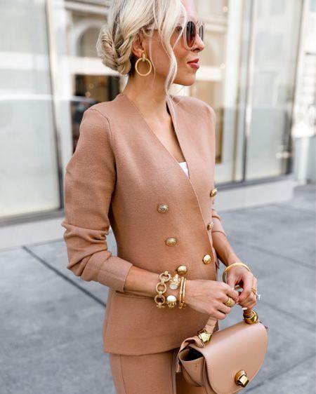 Julie Vos new fall collection. Gold jewelry. Statement accessories. Fall neutrals. Knit blazer.   #LTKsalealert #LTKstyletip #LTKworkwear
