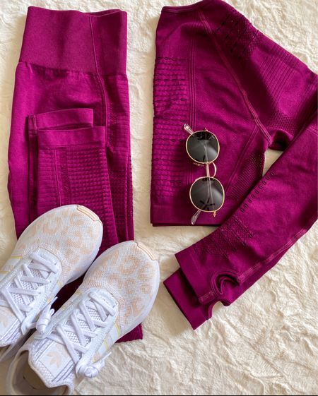 Love this long sleeve two piece workout set!  Comes in lots of colors but chose this wine color for Fall. Mine is size small and true to size.   Leggings are high waisted.  Top is cropped and has thumb holes.     Amazon fashion , amazon finds #ltkunder50 , workout style , workout set , workout clothes , workout outfit , amazon workout clothes , leggings , sneakers , white sneakers , adidas #ltkstyletip  #LTKSeasonal #LTKshoecrush #LTKfit