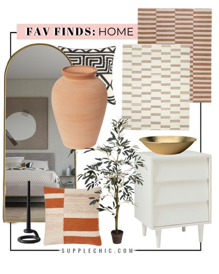 Fall home decor finds : White nightstand, gold catchall bowl, candlestick black, terra-cotta vessel, mud cloth pillows, arch mirror, faux Olive tree  #LTKhome #LTKfamily #LTKSeasonal