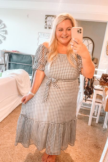 Wedding guest dress, summer dress, gingham, puff sleeve, midi dress http://liketk.it/3g1z2 #liketkit @liketoknow.it #LTKunder100 #LTKwedding #LTKunder50