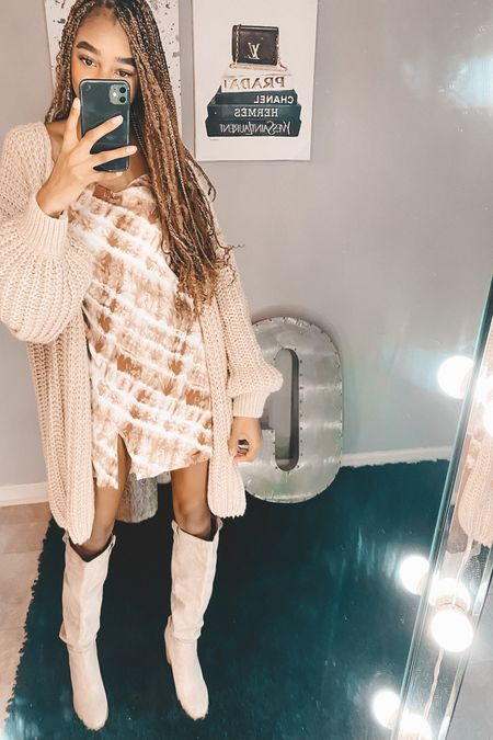 Shein finds! Loving this cardigan and cami fall dress!! Paired with some tall boots   #LTKstyletip #LTKSeasonal #LTKsalealert