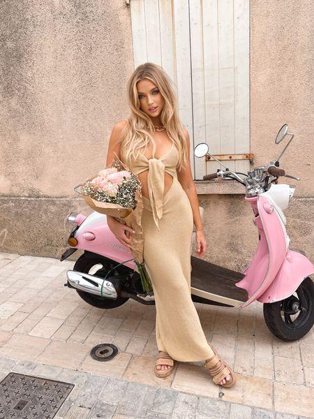 This Danielle Bernstein dress is on sale for only $60! Seriously the most flattering dress I have ever worn.  #beachdress #cutoutdress #beigedress #neutraldress #beachy #sttropez   #LTKunder100 #LTKsalealert