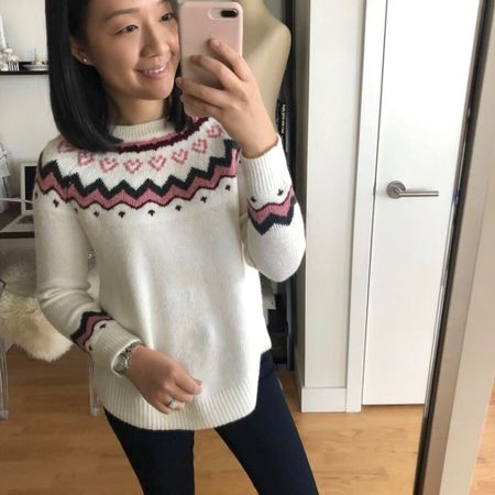 Flash Sale Alert! Get 50% off your online purchase @LOFT with code THANKS + major heart eyes for this adorable holiday sweater! 💕 It looks a lot better on (I didn't like it when I saw it on the table in store) so I suggest giving it a chance. Runs true to size (I took my usual size XSP) with a relaxed fit making it perfect for big meals. If you prefer more fitted sweaters then this one may not be your cup of tea. It contains 7% wool but I don't find it to be too itchy. 🛍 Shop this sweater and my favorite sales picks @liketoknow.it http://liketk.it/2ynZC #liketkit #LTKholidaystyle #LTKholidayathome #LTKholidaywishlist #LTKholidaygiftguide #LTKsalealert #LTKstyletip #LTKshoecrush #LTKunder50 #LTKunder100 #loveloft #loftgirl petite blogger
