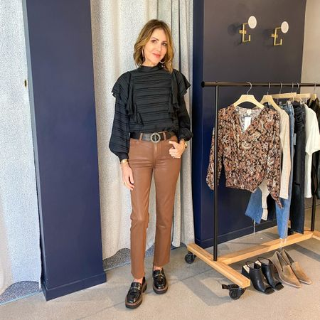 Sharing this gorgeous combo that is perfect for fall from @evereveofficial.    Paige coated denim, caramel jeans, black peasant sleeve top, black lugged sole loafers, Sam edelman loafers, Paige denim, Evereve outfit, fall fashion  #LTKshoecrush #LTKunder100 #LTKstyletip