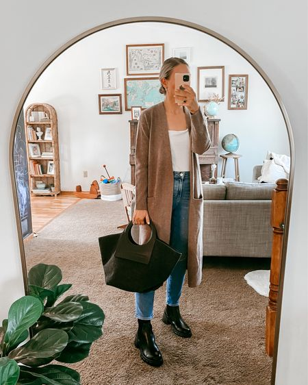 Nordstrom anniversary sale styled outfits - medium in the cardigan, jeans and boots TTS  #LTKsalealert #LTKSeasonal