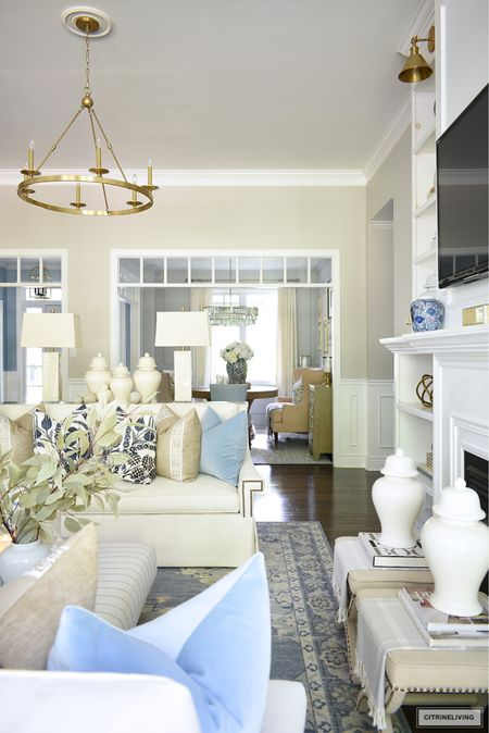 Fall home decor with beautiful soft blues and warm neutrals   #LTKhome #LTKstyletip #LTKSeasonal