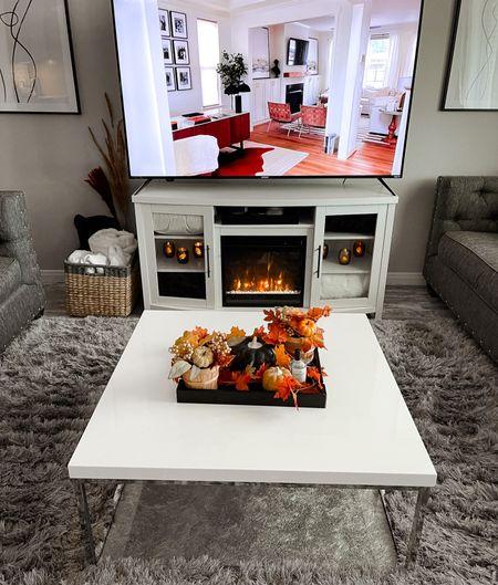 Fall living room decor, home decor, living room, coffee table, electric fireplace, Target, basket, living room decor  #LTKhome #LTKSeasonal