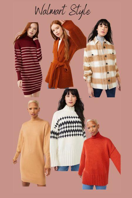 Walmart fashion  Free assembly  Shacket Sweater dress Sweater turtleneck   #LTKSeasonal #LTKHoliday #LTKstyletip