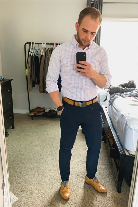 Love this white dress shirt for spring because that pattern and colors go so well. Pair it with some navy pants or navy chinos which basically are pants because they are so comfortable. The pants i would wear lounging around the house or out and about. http://liketk.it/2Nli6 #liketkit #LTKspring #LTKmens #LTKshoecrush @liketoknow.it